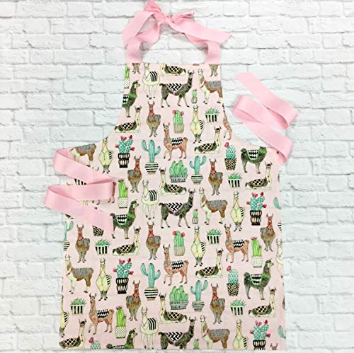 (Pink Lovely Llama Girls Apron Gift for Crafts Art Kitchen )