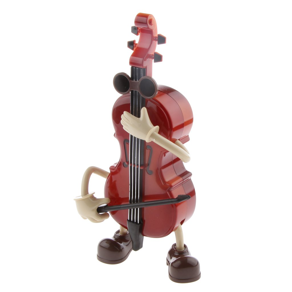 MagiDeal Cute Guy Swing Windup Cello Music Box Musical Toy Table Ornament Kids Gift