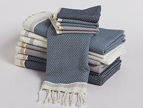 Coyuchi Organic Cotton Mediterranean 6pc Towel Set - Deep Pewter w/ Tangerine