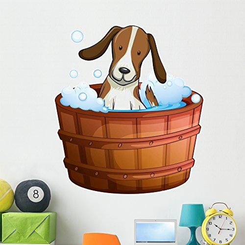 Wallmonkeys Bathtub Doggie Dog Wall Decal Peel and Stick Graphic (48 in H x 41 in W) WM248335 from Wallmonkeys