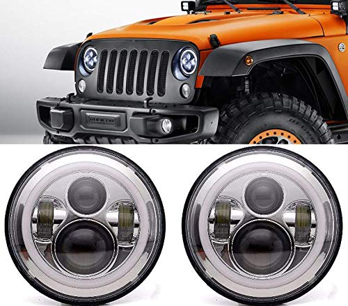 "(ANR Jeep 7"" LED Chrome Headlight Set With White Halo Angel Eye Ring DRL & Amber Turn Signal Lights fits Jeep Wrangler JK LJ CJ Hummer REPLACES ANY 7"