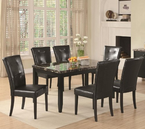 7 Piece Parson Dining Set Anisa Collection Coaster Black Leather by Coaster Home Furnishings