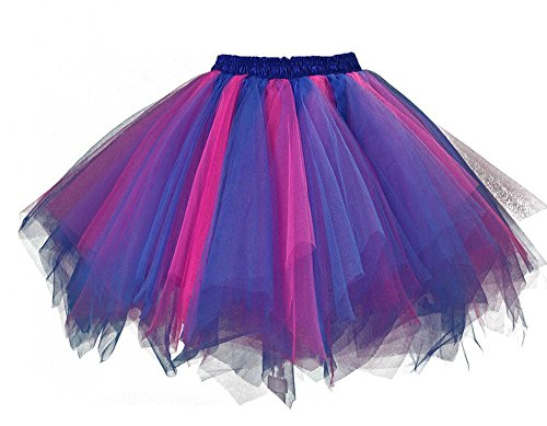 And Tutu Purple Pink (MsJune Women's 1950s Vintage Petticoats Crinolines Bubble Tutu Dance Half Slip Skirt Royal blue &)