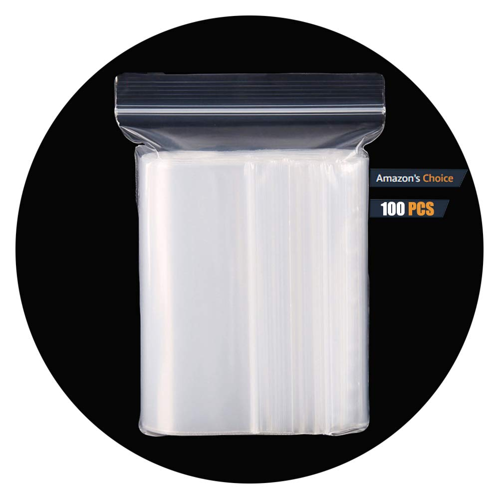 HVDHYY Clear Plastic Reclosable Zip Poly Bags with Resealable Lock Seal Zipper Ziplock Bag(More Sizes Available)13.77'' 17.71''(35 X 45CM) 100PCS by HVDHYY