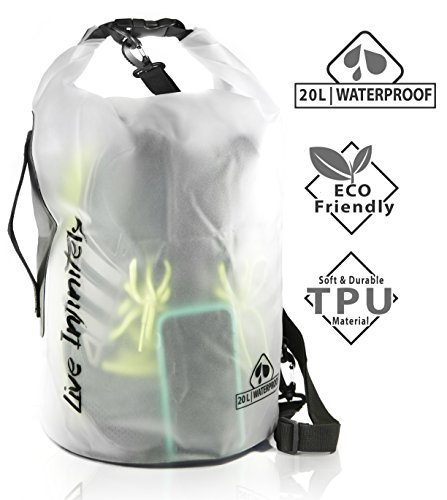Live Infinitely 20L Waterproof Dry Bag Transparent TPU Which is Stronger, Softer & More ECO Friendly Than PVC -Reinforced Bottom, Carry Handle & Double Top Seal Keep Your Belongings Dry (White)