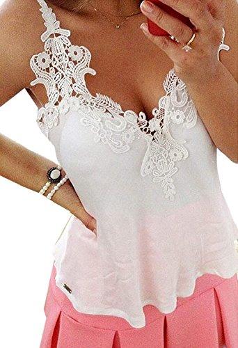Zeagoo Women's Fashion Lace Splicing Blouse Chiffon Shirt Strap Sexy Tops