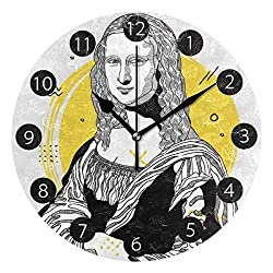 Tarity Silent Round Wall Clock, Mona Lisa Pattern Decorative Quiet Non Ticking Battery Operated Art Wall Clocks for Living Room Bedroom Office Kitchen Kids