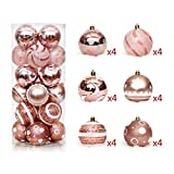 24 pcs Christmas Balls Shatterproof brightly painted Pendant for Xmas Tree decoration Transparent Rose Gold