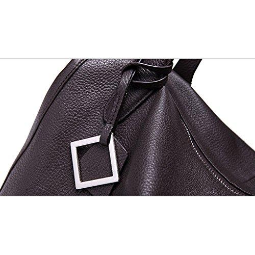 DUDU femmes Cuir véritable Knight série de taille moyenne avec poignée supérieure sac à main porté épaule - Gris - gris,