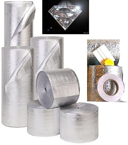 MWS Reflective Foam Core Insulation Kit: Roll Size 48''x25' Includes 25' Foil Tape, Knife & Squeegee. Multipurpose Home Insulation For Your Building Project or Just Every Day Household Needs.