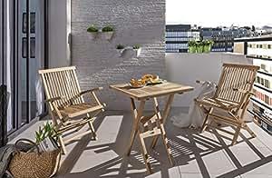 SAM® Madera de Teca Balcón Grupo, Jardín Grupo Muebles de Jardín, 3piezas., se compone de 2x Silla plegable + 1x mesa, plegable, fácil de guardar [53262649]
