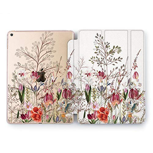 Wonder Wild Spring Grow iPad Mini 1 2 3 4 Air 2 Pro 10.5 12.9 Tablet 2018 2017 9.7 inch Cover Smart Stand Case Pink New Peony Seasons Flower Pretty Sweet Beautiful Tulips Print Leaves Clear Design ()