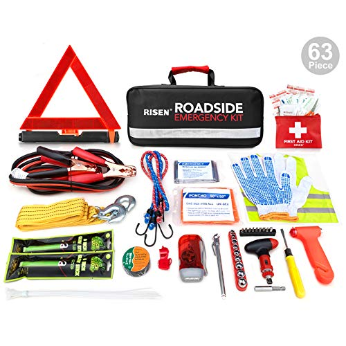 - RISEN Premium Roadside Assistance Car Emergency Kit + Bonus First Aid Kit - Auto Safety Kit Contains Jumper Cables, Warning Triangle, Tow Rope, Screw Kit (63 Pcs/Pack)