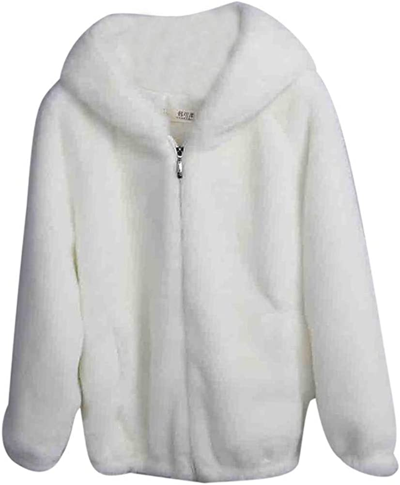 Womens Wool Jacket,Ladies Hooded Thick Outwear Fluffy Zipper Warm Solid Loose Overcoat