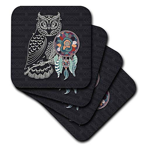 3dRose Doreen Erhardt Native American - A Great Horned Owl in Stylized Silhouette and Native American Theme - set of 8 Ceramic Tile Coasters (cst_304668_4) -