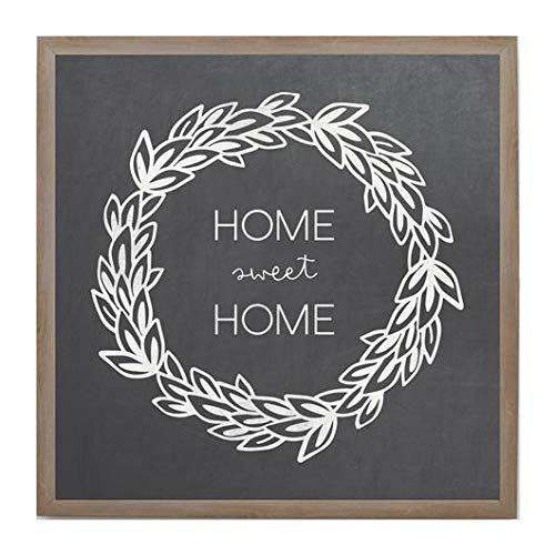 Petal Lane Framed Magnetic Canvas Wall Art - Chalkboard Look Home Sweet Home Home Decor, 4 Magnets Included (16