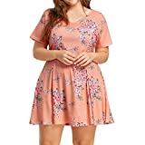 JYS Apparel Summer Women Short Sleeve O-Neck Floral Printed Beach Dress Plus Size (XXXL)