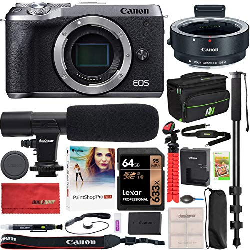 Canon EOS M6 Mark II 2 Mirrorless Digital Camera Body Only with Lens Adapter EF-EOS M Silver 3612C001 Bundle with Deco Gear Bag Case + Microphone + Monopod + 64GB Memory Card + Software & Accessories