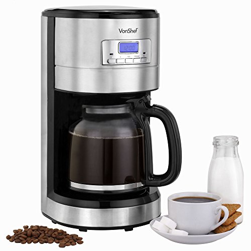 VonShef Programmable Digital Coffee Maker with Measuring Spoon- 12 Cup Capacity