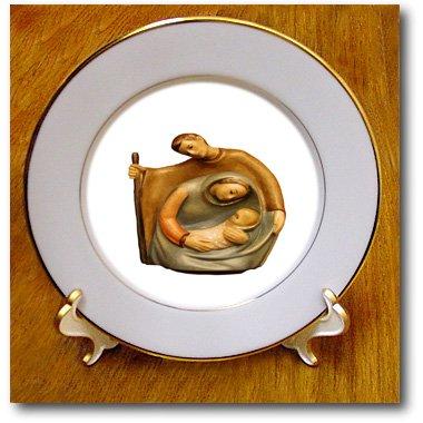 3dRose cp_214076_1 Nativity Scene Mary Joseph and Jesus Porcelain Plate, 8
