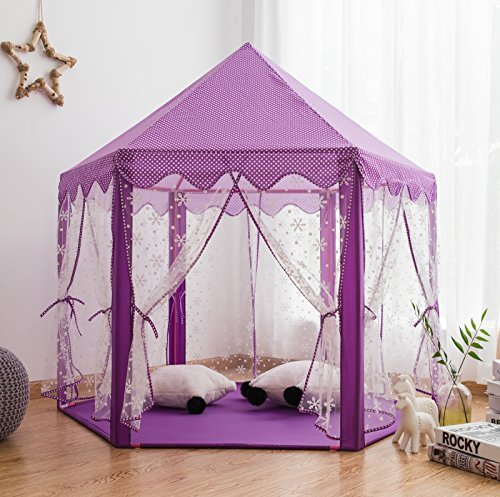 Pericross Snowflake Veil Hexagon Princess Play Tent with Aluminum Alloy Frame and 33ft 100 Diodes AA Battery Powered Brass Wire Lights (Violet)