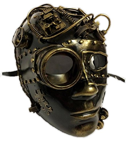 Metallic Gold Steampunk Robot Face Mask Adult Masquerade Costume Accessory -