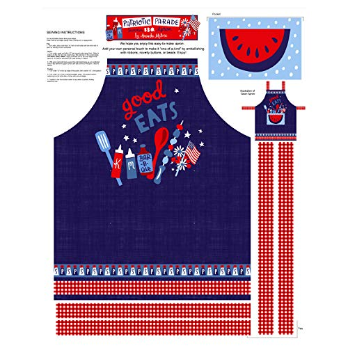 (Studio E Fabrics Patriotic Parade 36'' Apron Panel Fabric, Blue/Red )