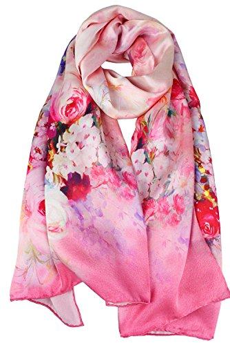 (ELEGNA Women's 100% Silk Flower Painting Long Scarf Shawl (Pink Blooming Rose))