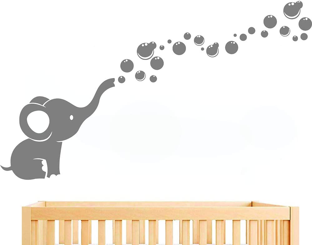 Elephant Blowing Bubbles Wall Sticker Nursery Room Wall Decor Girls Boys Baby Bedroom Art Removable Vinyl Murals WS78 (Gray)