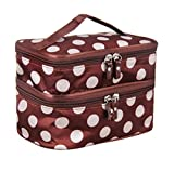Cute Dot 2 Layer Cosmetic Bag Women Travel Necessaries High-Capacity Storage Brown