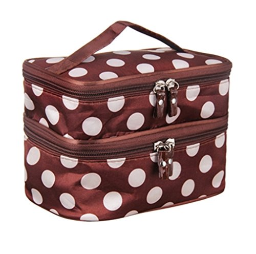 Cute Dot 2 Layer Cosmetic Bag Women Travel Necessaries High-Capacity Storage Brown by Hightider