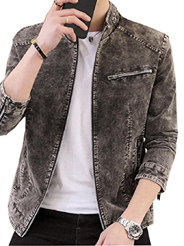 Color Stand Jacket Mens security Casual Denim Collar Slim Solid Gery Zipper wE4PqR