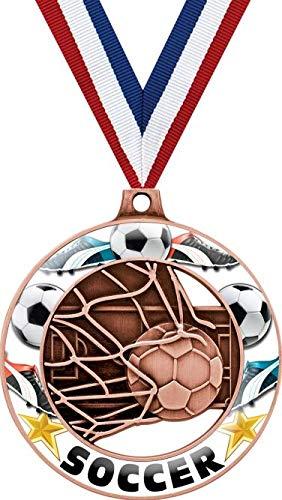 サッカーメダル - 2インチ ブロンズサッカーグローリムズ 4.0 メダルアワード B07GHB4TKJ  50