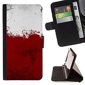 White Red Blood Floral Art - Modelo colorido cuero de la carpeta del tirón del caso cubierta piel Holster Funda protecció Para HTC DESIRE 816