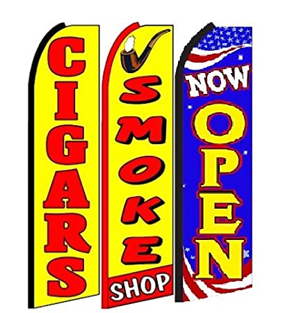 Amazon com : Cigars, Smoke Shop, Now Open King Swooper Feather Flag