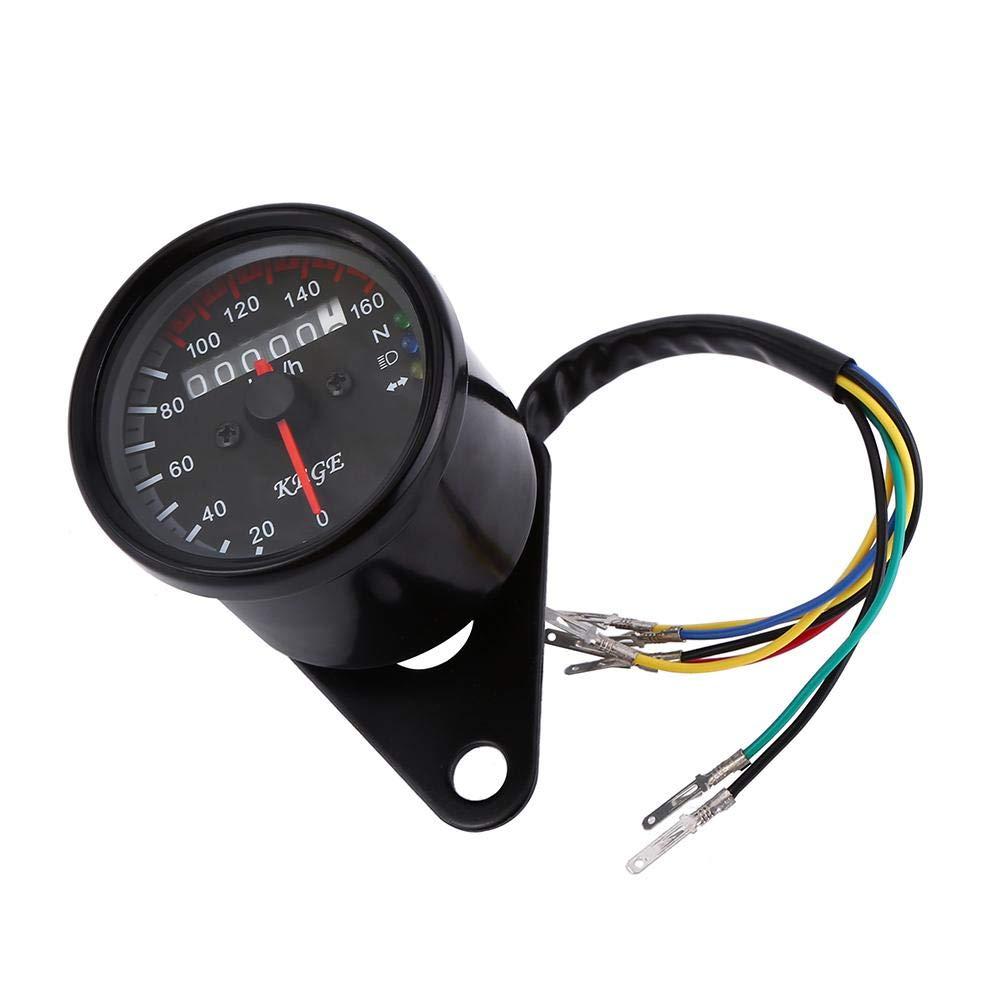 Black Single Indicator 12V Motorcycle LED KMH Odometer Speedometer Keenso Universal 0-160km//h Odometer Speedometer Gauge
