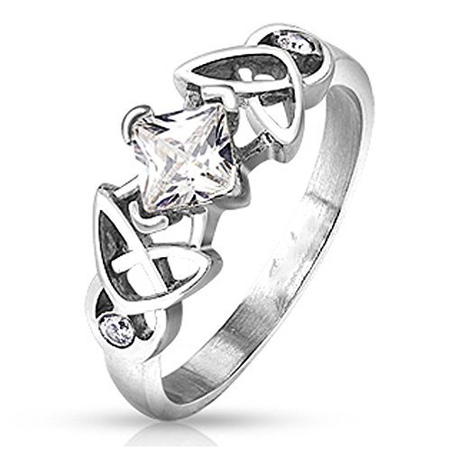 Celtic Tribal Knot Ring (Stainless Steel Tribal Style Celtic Knot Design with Round Cz and Centered Princess Cut Clear Cz Ring, Ring Width of 8MM)