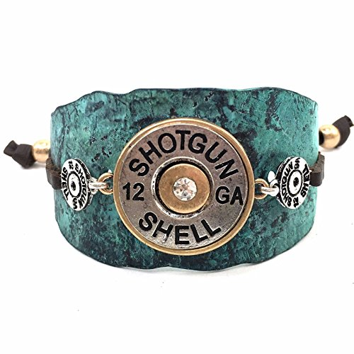 (Western Peak Western Hammered Plate Shotgun Bullet Shell Concho Brown Leather Cuff Bracelet (Blue))