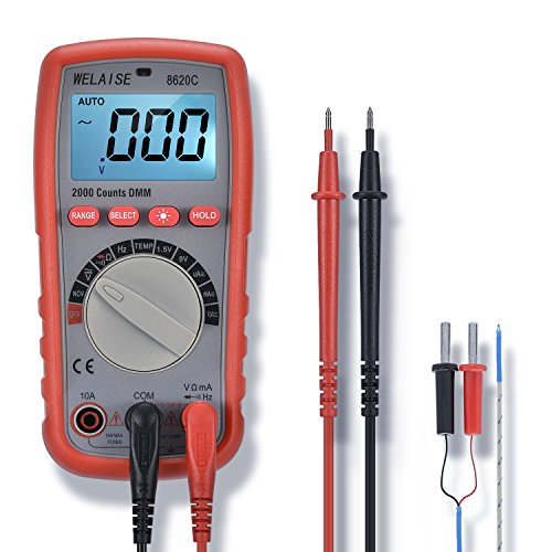 Multimeter Non Contact (Digital Multimeter WELAISE Auto-Ranging Non Contact Voltage Detection Electronic, AC/DC/Ohm/Volt Test Meter Multi Tester W/Temperature/BatteryTest)
