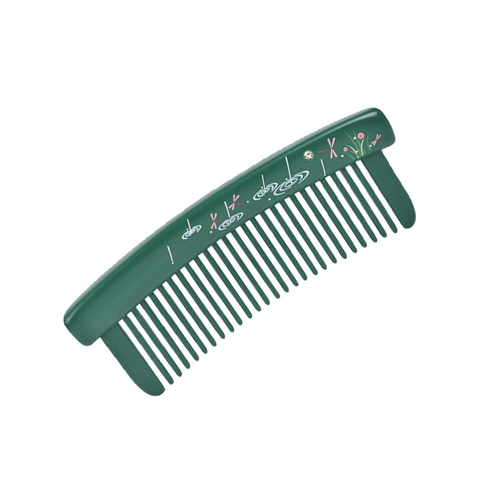 WUZHONGDIAN Comb, Natural Wooden Comb, Hair Massage Comb, Listening To Rain, Green. by WUZHONGDIAN