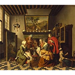 The Perfect Effect Canvas Of Oil Painting 'Jan Jozef Horemans II - Tea-Time, 18th Century' ,size: 30x34 Inch / 76x87 Cm ,this Amazing Art Decorative Canvas Prints Is Fit For Dining Room Artwork And Home Decoration And Gifts