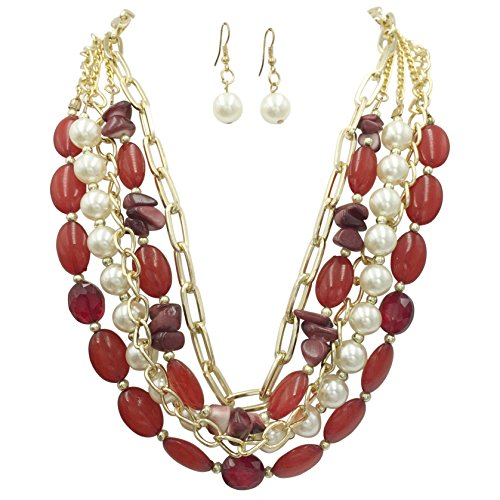 Chain & Imitation Pearl Statement Necklace & Earrings Set - Assorted Colors (Red) ()