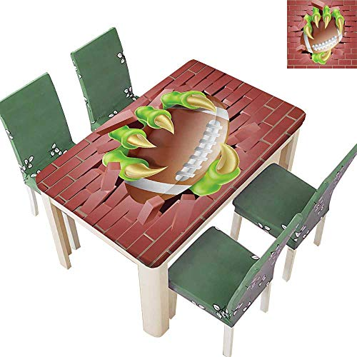 - Decorative Tablecloth Claw American Football Through Brick Wall Image Green Tile Red Brown Assorted Size 52 x 108 Inch (Elastic Edge)