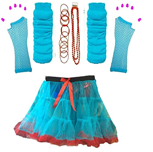 Momo&Ayat Fashion Ladies Thing Red Turquoise Theme 1 & 2 Book Week Costume- Pick & Mix (Set 2 - Tutu, S/M (UK 8-10)) ()