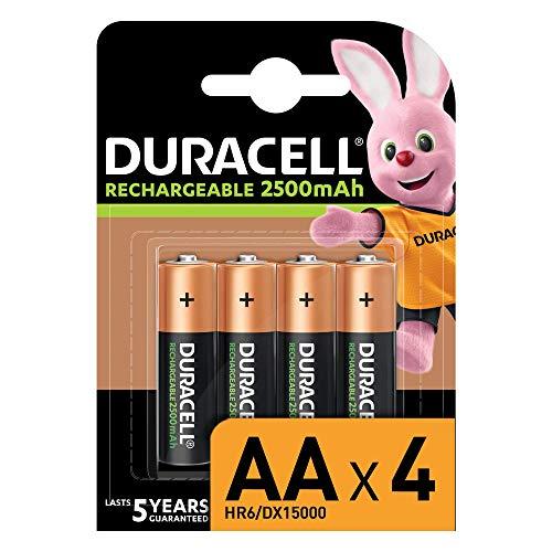 Duracell Piles Rechargeables AA 2500 mAh idéales pour les manettes Xbox, pack de 4 piles