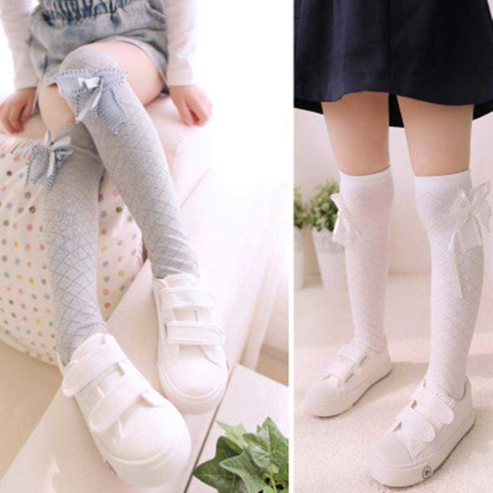 XdiseD9Xsmao Elastic Solid Color Grid Bow Knot Knee Length Stockings Soft Durable Sweat-absorbent Long Socks for Children Baby Girl