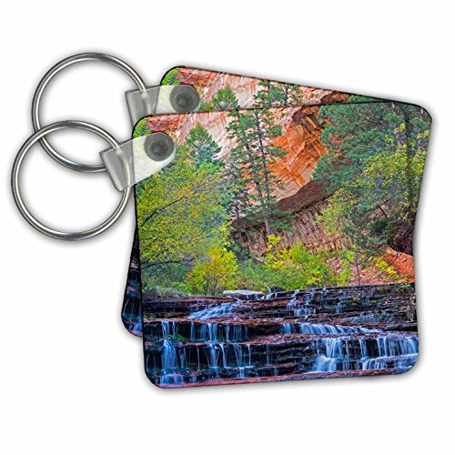Danita Delimont - Waterfalls - Utah, Zion NP, water cascading through Left Fork of North Creek - Key Chains - set of 6 Key Chains - Left Fork