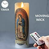Remote Control Maria Guadalupe Novena Vigil Flamless Candle 5.5X17CM/Our Lady of Guadalupe Religious Prayer Candle