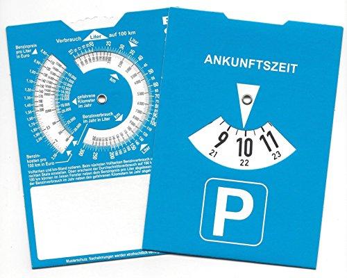 Europa Parkscheibe Parkuhr mit Benzinrechner Rückseite neutral ohne Werbung (1)