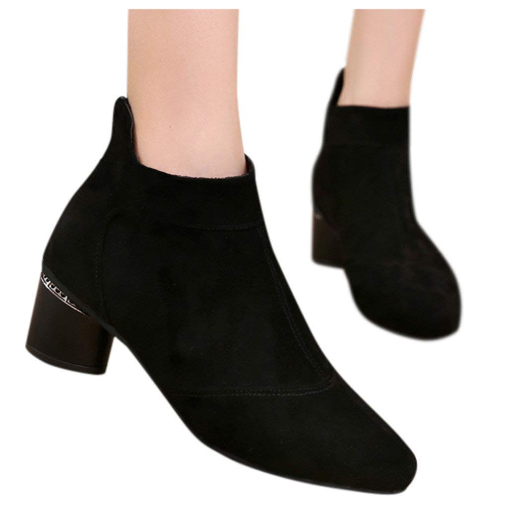Veodhekai Women Low Heel Short Boots Flats Comfortable Shoes Round Toe Roman Shoes Booties Solid Work OL Black by Veodhekai